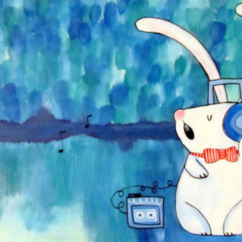 Music Bunny Rabbit Art, DJ Rabbit, Cute Whimsical Artwork, Kids Wall Art, Acrylic Painting, Nursery Decor, Abstract Kids Art