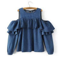 CT239 Cheap-clothes-china off shoulder Top Denim Ruffle Blouse Women 2017 Spring Full Sleeve Stylish Korean Blusas Woman Shirt