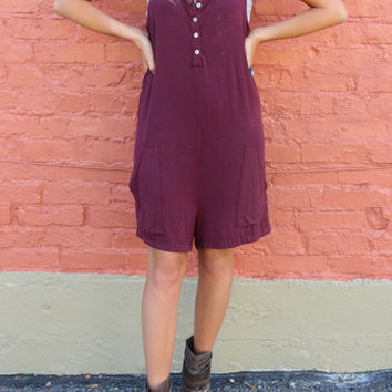 Lonely Hearts Club Burgundy Overalls Romper