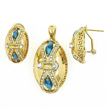 Gold Layered 10.91.0341 Earring and Pendant Adult Set, Infinite and Greek Key Design, with White Crystal and Sapphire Blue Opal, Blue Enamel Finish, Gold Tone