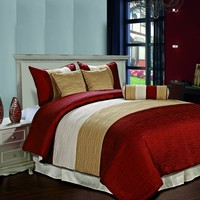 Amber 7 piece Jacquard Comforter Set Burgundy, Gold, Begie Pleated Stripes Bed Cover QUEEN Size Bedding