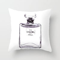Chanel No 5 Throw Pillow by Alicia Evans