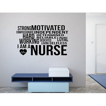 I Am A Nurse Decal Sticker - Nurse Word Cloud Decal - Word Cloud Decal - Nursing Wall Decal Gift - Nurse Gift Idea - Nurse Definition Sign
