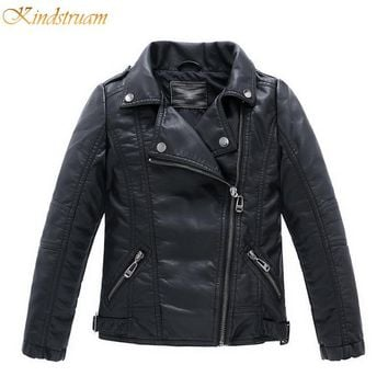 2017 New Boys Faux Leather Jackets European and American Style Children Fashion Coats Girls Outerwear Spring & Autumn HC351