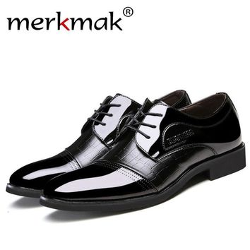 Merkmak Oxfords Leather Men Shoes Fashion Pointed Top Lace Up Flats Shoes Designer Formal Dress Men Shoes For Party Wedding Shoe