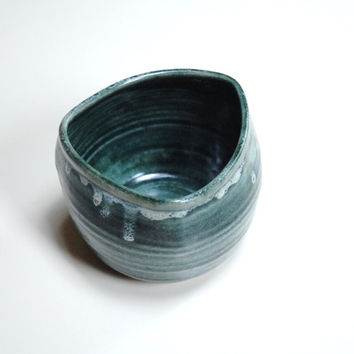 Pottery Yunomi,Ceramic coffee cup,Geometric clay cup,Deep teal mug,ceramic mug,no handle cup,pottery teacup,large coffee mug,