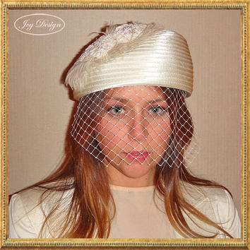 Women's Reconstructed Vintage Pillbox Hat with Beaded Bridal Lace Applique Russian Birdcage Veil and Ostrich Feather