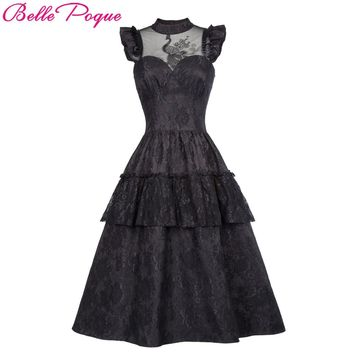 Belle Poque Retro Black Steampunk Gothic Dress 2017 Ruffle High-Neck Lace Up Women Summer Swing Vintage Victorian Punk Dresses