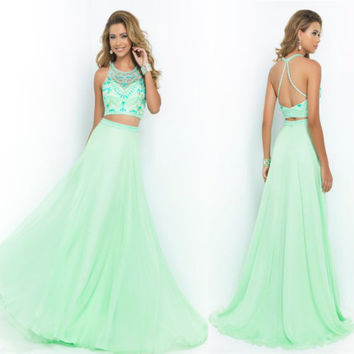 Free Shipping Two Piece Prom Dress Long Back Open Mint Prom Gowns Lace Custom Made Formal Evening Gowns For Special Occasion