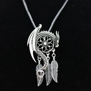 Dragon Guardian Dream Catcher Pendant Necklace Boho Bohemian Women Choker Jewelry Viking Amulet Charm Antique Silver Plated