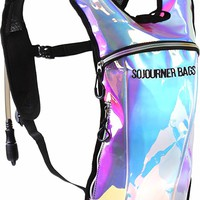 SoJourner Rave Hydration Pack Backpack - 2L Water Bladder included for festivals, raves, hiking, biking, climbing, running and more (small)