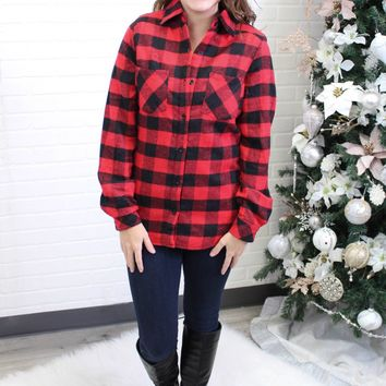 Red Buffalo Plaid Sherpa Lined Flannel