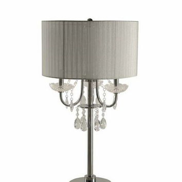 Set of 2 round chrome finish table lamp with hanging crystals and translucent shade