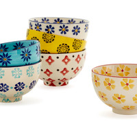 S/6 Assorted Summer Floral Bowls