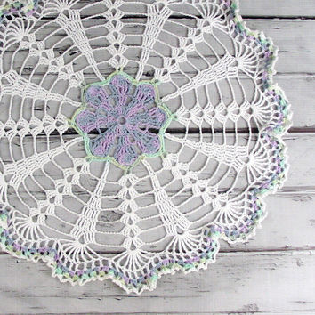 Lovely Crocheted White Violet Purple Blue by ronisboutique on Zibbet