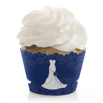 Wedding Dress Blue - Bridal Shower Cupcake Wrappers