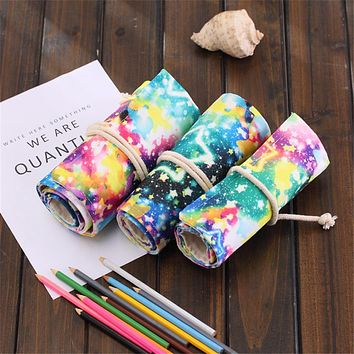 Universe Galaxy Printed Canvas Wrap Roll Pencil Case School Curtain Pen Bag New Office Storage