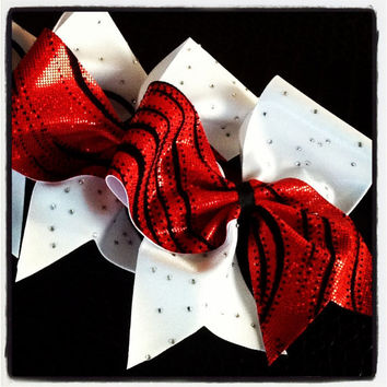Limited Edition Red Black and White Rhinestone Cheer Bow