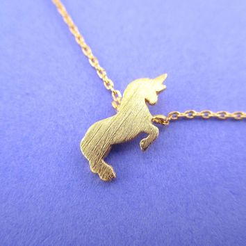 Minimal Unicorn Silhouette Shaped Pendant Necklace in Gold