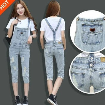 Womens Jean Overalls Capris 2016 Spring & Summer New Fashion Ripped Jean Overalls Ladies Bib Jeans Free Shipping