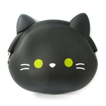 Black Kitty Cat Face Shaped Mimi Pochi Animal Friends Silicone Clasp Coin Purse Pouch