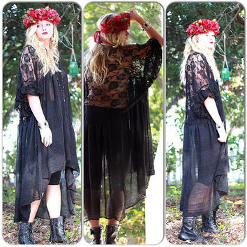 Stevie Nicks style black Gypsy Tunic Dress, Bohemian Magnolia lace Pearl, Boho dresses Vagabond wanderer, Romantic, True Rebel clothing OS