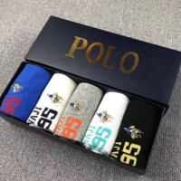 POLO New Fashion Letter Print Embroidery Men And Women Socks 5 Pairs Of Socks Boxed Fives Color