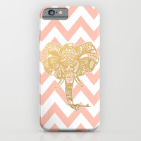 golden elephant & chevron iPhone & iPod Case by Hannah