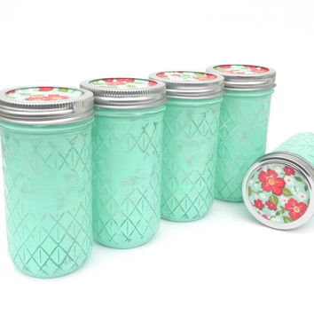 Mason Jars in Mint Green with Coral/Mint Lids, Quilted Shabby Chic Jars for Vases, Canister, Storage, Decor
