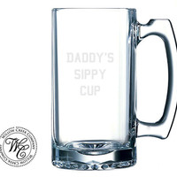 Personalized Beer Mug Custom Etched Sports Glass - Father's Day Gift, Gifts for Him