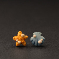 Starfish Seashell Earrings Mismatched Studs by PixieHearts on Etsy