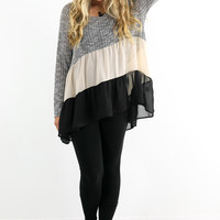 Heart Like Mine Black & Taupe Chiffon Ruffle Top