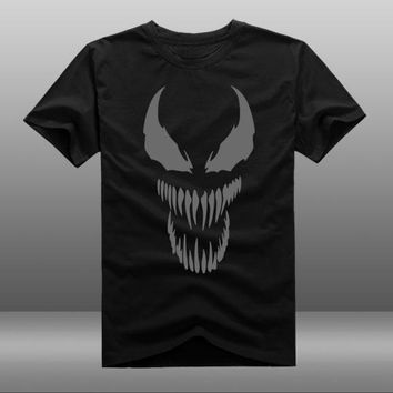 New Film Spider-man 2018 Venom t-shirt Spider man Skull men t shirt reflect light summer cotton Tees Tops