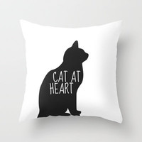 CAT AT HEART Throw Pillow by Danielle Marie   Society6