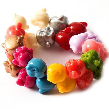 20pcs Colorful Spacer Beads for DIY Jewelry Making Necklace Bracelet Accessories Buddha head/Lotus flower/Shell/Turtles/Elephant