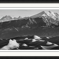 Monochrome Morning Sand Dunes And Snow Covered Peaks Framed Print