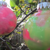 Glass Ornament, Pink and Green, Hand painted glass, glow in the dark paint, Green Glow Pigment, OOAK, Christmas