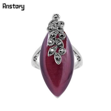 Eye Shape Opal Resin Rings Vintage Plant Leaf Rings For Women Antique Silver Plated Fashion Jewelry