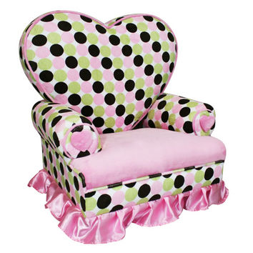 Komfy Kings, Inc 70145 Princess Heart Chair Minky Pink & Brown Polka Dot