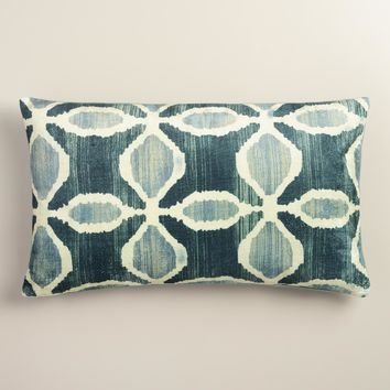 Oversized Blue Ikat Velvet Taza Lumbar Pillow