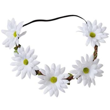 Floral Braided Leather Headband