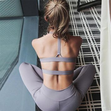 Oyoo Double Layer Pink Sports Bra Women Cropped Athletic Vest Strappy Yoga Top High Support Push Up Runing Bras Gym Clothing