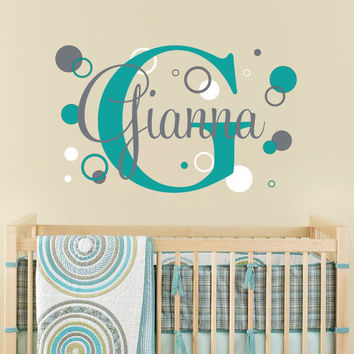 Nursery Name Decal Personalized With Rings Circles And Dots Background For Girl Or Boy Baby Nursery Or Teen Bedroom 22H x 36W CN018