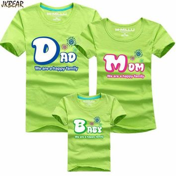DCK9M2 Mother's Day Gift Lovely Family Matching Short Sleeve T Shirts Cute Dad Mom Baby Print Casual Cotton Tee Plus Size S-4XL