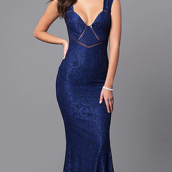 Elegant V-Neck Lace Long Prom Dress with Cut Outs