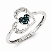 Sterling Silver Blue and White Diamond Heart Ring