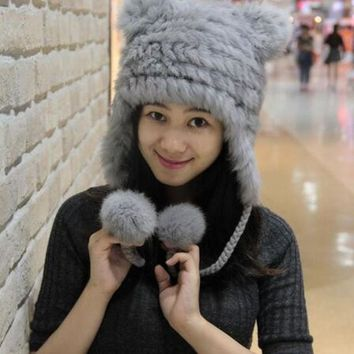 DCCKJG2 NEW WINTER WOMEN FASHION GENUINE RABBIT FUR CAP WITH BEAR EARS CUTE WARM  FUR KNITTED HAT SOFT FUR HAT WITH TWO EARS LOVELY HAT