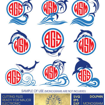 Dolphin Digital Monogram Frames - Vector Decal Clipart (SVG, eps, DXF, PNG) cards, stickers, transfers, Silhouette, cutting machines cv-369