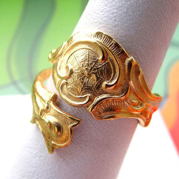 14k Gold Plated 14 kt Golden Finished Pure Sterling Silver Ring Handmade Spider Spoon Ring Cool Steampunk Jewelry Jewellery