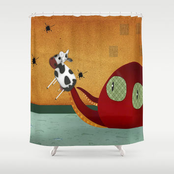 why cows have black spots Shower Curtain by La Margarita Roja